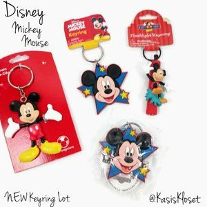 Disney Mickey Mouse NEW Keyrings Assorted Lot Of 4